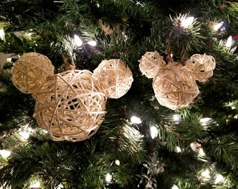 Mickey Shaped Disney Christmas Ornament / Decoration - Wicker / Ratan - Large or Small - White, Black, Gray, or Natural