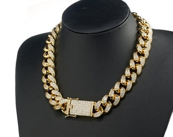 Iced out Miami Cuban link chain 18mm 8 18 20 22 24 30in HIP-POP Fashion 6b6da578f010