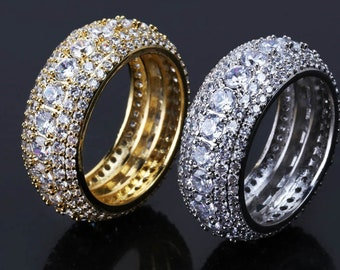 66e31e26f FULL Iced Out Men s Gold  White Gold Plated CZ Ring Wedding band Pinky Ring