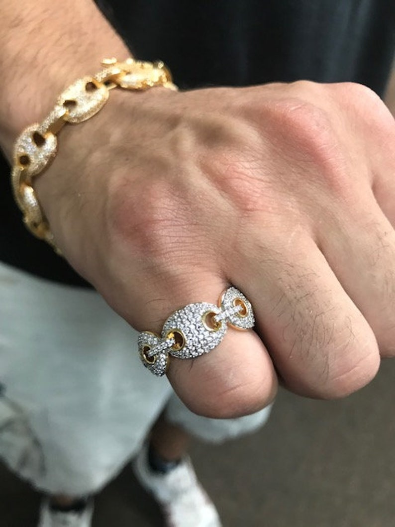 Gucci Link Chain For Sale Ebay >> Full Iced Out Men S 14k Gold Cz Ring Gucci Link Pinky Ring