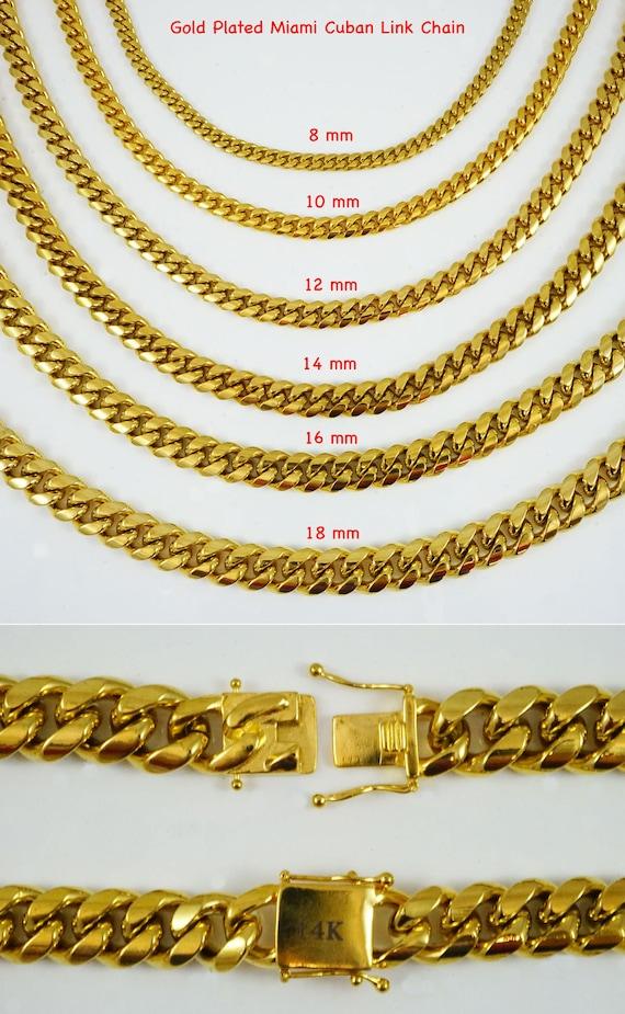 Mens Miami Cuban link Chain Bracelet Set 6mm 14k Gold Plated Necklace