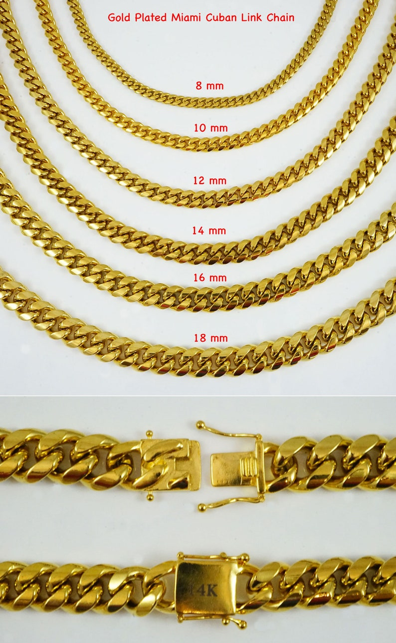 4ca90543014 14K Gold Plated Miami Cuban Link Chain Men's Jewelry Stainless Steel  Hip-pop Style length 8mm/10mm/12mm 30in necklace chain