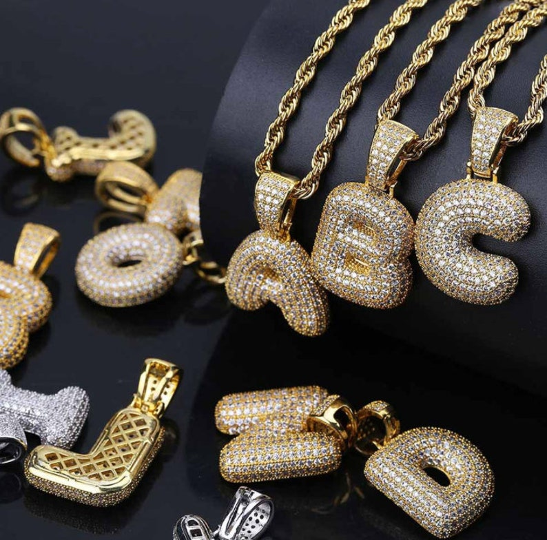 6bd8927e9f436 18K Gold Plated Iced Out bubble letter pendant with rope chain Men's  Jewelry Hip-pop Style