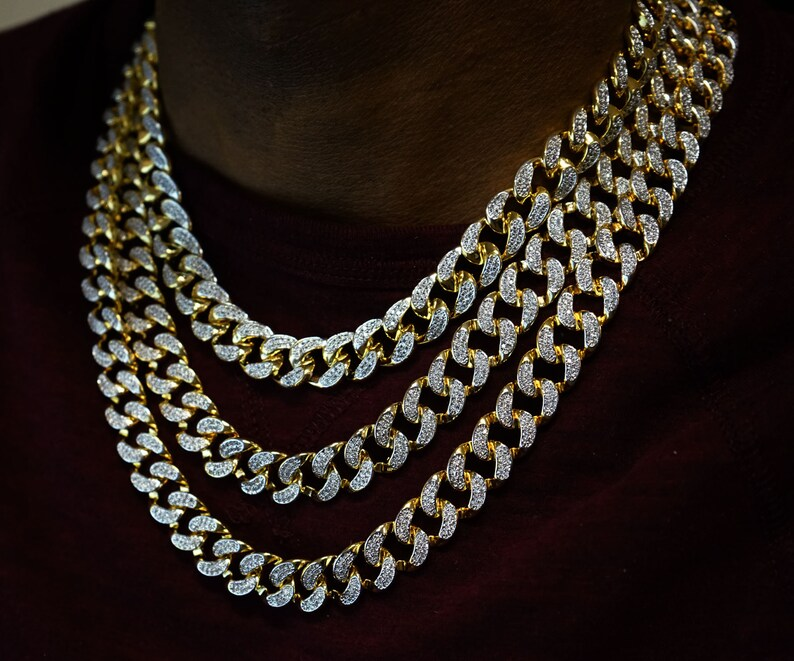 3c11fb7475038 18K 12mm 18in Iced Out Gold Plated Miami Cuban Link Chain Men's Jewelry Set  Hip-pop Style Men's Choker Necklace