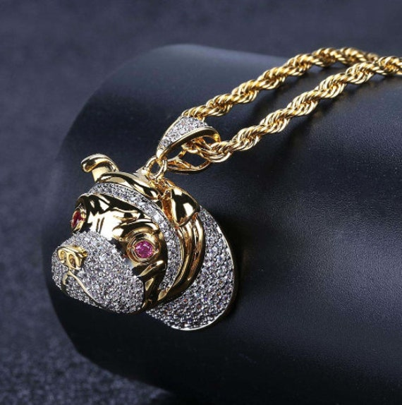 14K Yellow Gold Bulldog Charm Pendant with 1.8mm Singapore Chain Necklace