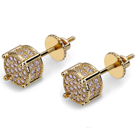 18k gold plated TwoTone hip hop Back Screw iced Out CzMicropave men Earring Stub