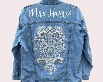 Bride Denim Jacket with Lace & Pearls + Custom Last Name