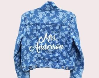 Bride Floral Denim Jacket + Custom Last Name