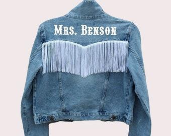 Bride Denim Jacket with Fringe + Custom Last Name