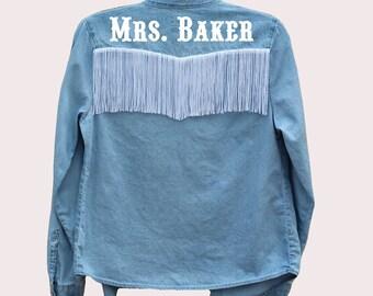 Bride Denim Button Up Shirt with Fringe + Custom Last Name