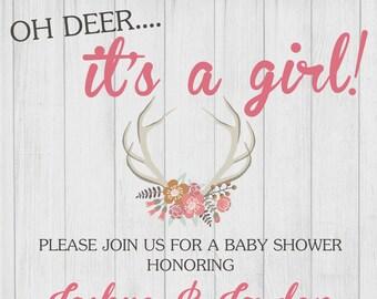 Oh Deer Baby Shower Invitation, Baby Sprinkle Invitation, Oh Deer It's a Girl