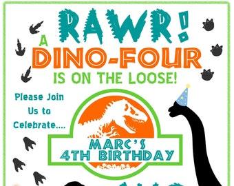 Dinosaur Birthday Invitation Dino Four On The Loose Boy Or Girl 4 Year Old