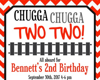 Train Birthday Invitation Chugga Two Boys 2 Year Old