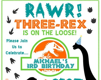 Dinosaur Birthday Invitation Three Rex On The Loose Boy Or Girl 3 Year Old