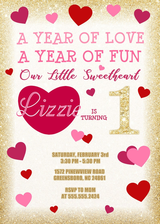 Hearts Birthday Invitation Valentine Girls 1 Year Old