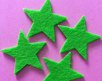 12 Green Star Felt die cuts