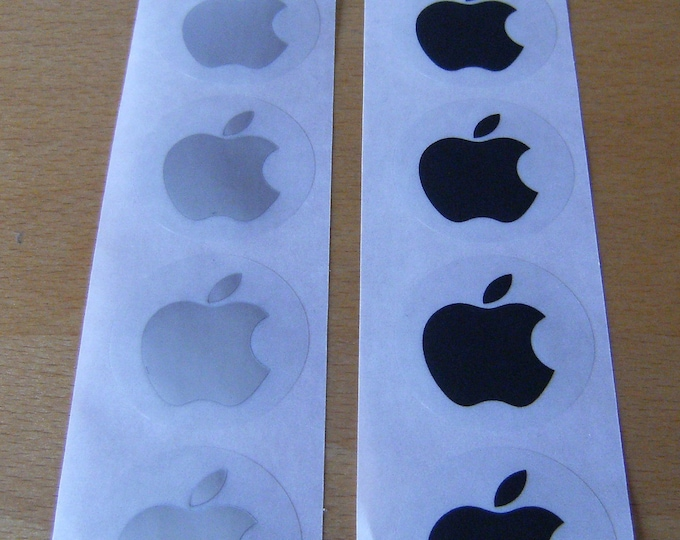 Apple Logo Stickers in BLACK & SILVER, 40mm across