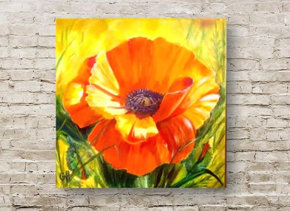 Poppy flower painting red poppy flower oil painting on canvas etsy image 0 mightylinksfo