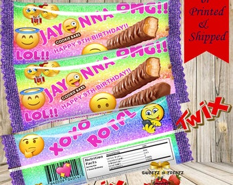 EMOJI TWIX CANDY Wrappers Favors
