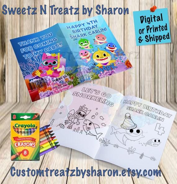 Baby Shark Coloring Book Baby Shark Party Custom Coloring Book Baby Shark Party Favors Digital Printed Shipped