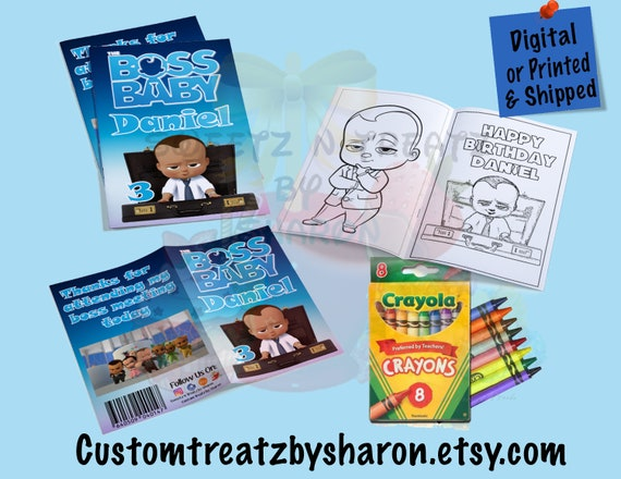 AFRICAN AMERICAN or CAUCASIAN Boy Boss Baby Custom Coloring Book - Boss  Baby Party - Coloring Book - Digital - Printed- Assembled & Shipped