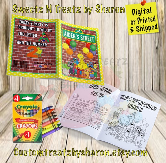 Sesame Street Coloring Book - Sesame Street Party - Sesame Street Party  Favors - Custom Coloring Book - Digital - Printed - Shipped