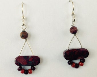 Funky red jasper dangles