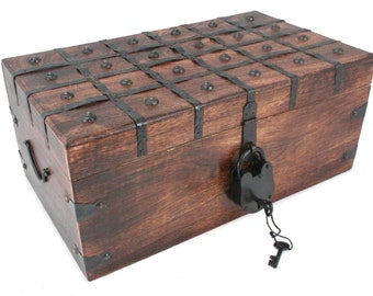 Large Flat Treasure Chest With Lock And Keys