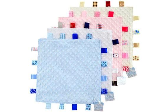 Soft Tag Velour /& Satin Baby Boys Girls Soft Touch Teddy Bear Comforter Blanket