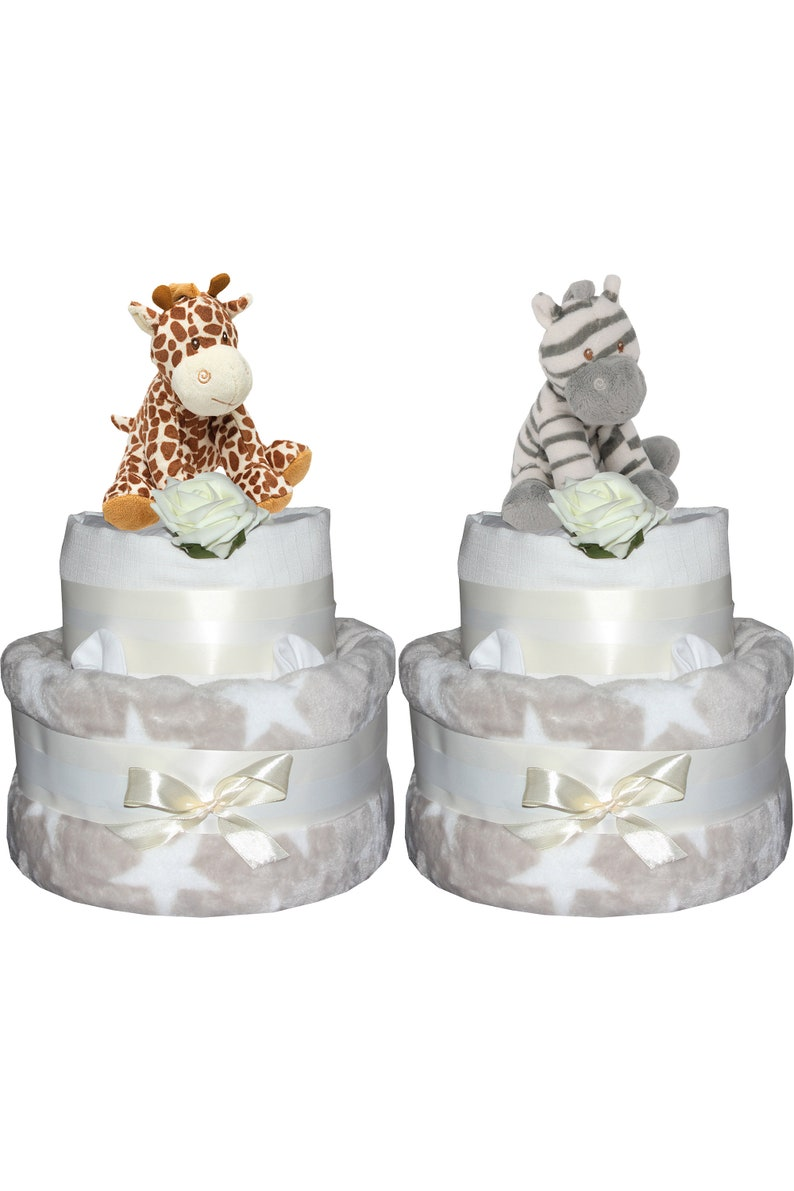 Nappy Cake Unisex Star Neutral Design Baby Shower Gift Giraffe image 0