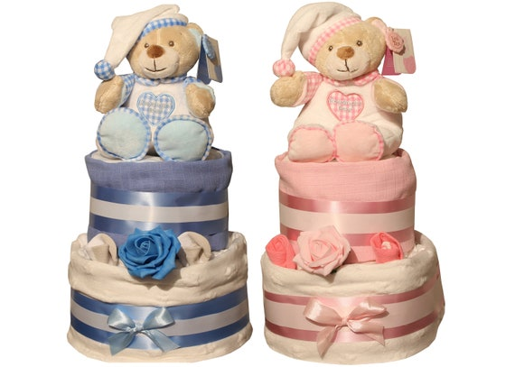 Baby Boy Girl Unisex Two Tier Nappy Cake with Elli and Raff Toys New Born Baby Shower Gift