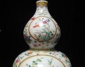 Antique Chinese Painting Porcelain Double Gourd Vase quot QianLong quot Mark