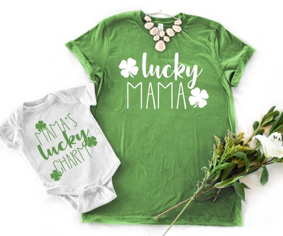 tshirt lucky charm St girls shirt mommy t-shirt green t shirt baby girl clothes pink clover Patrick/'s Day baby girl bodysuit