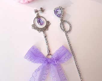 Lovely violet lace ribbon dangling earrings