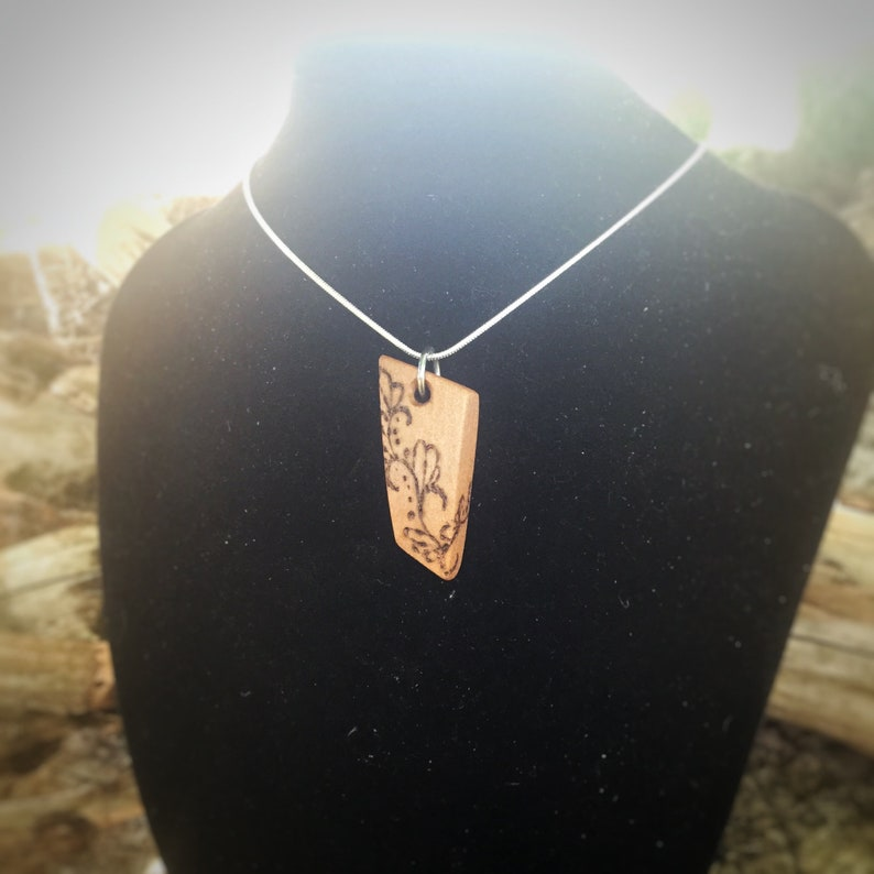 Hand-Carved Wooden Pyrography Necklace