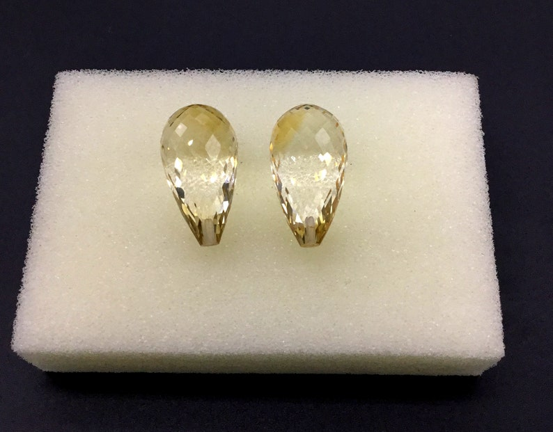 1 Pair Set 8 x 23 To 11 x 29 MM Citrine Faceted Drops Pair Set 2 Pieces Top Quality Cut Half Drilled 100 /% Natural Size Available