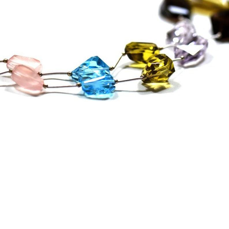 Tumble Semi Precious Multi 16/'/' Gemstone 1 Strand EB0029 Jewelry Beads Handmade  Natural Brazilian  Faceted Nuggets