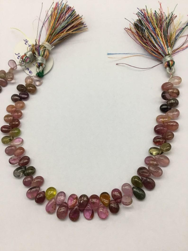 Tourmaline Multi Plain Pear  Almond Natural Gemstone Necklace 8/'/' Smooth Tourmaline Top Shape 1 Strand Top Color