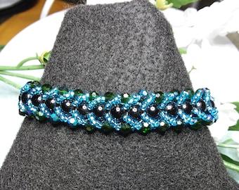 Large Teal blue and black beaded bracelet