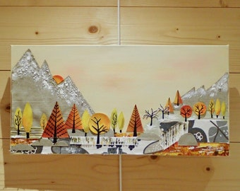 """Original modern painting with collage, mountain forest in fall, sunset """"Autumn"""""""