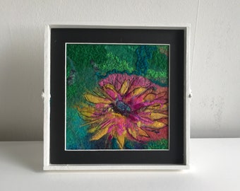 Flower woolpainting abstract felted wall art