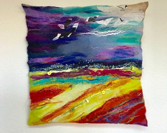 landscape island wetfelted woolpainting