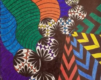 Multicolor original Zentangle drawing.