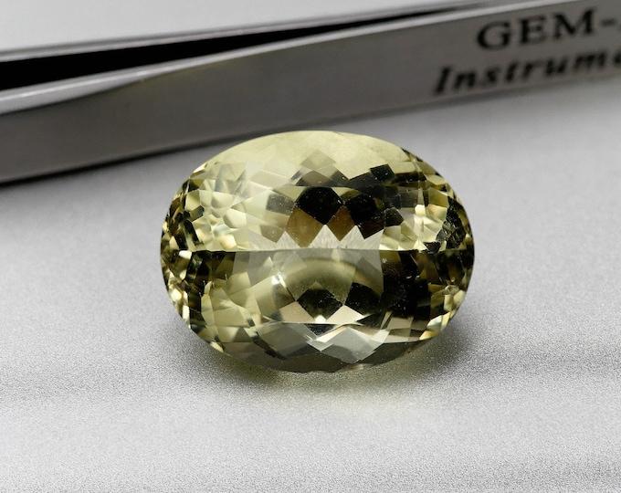 JAUNE/ ORTHOSE - Pierre facettée taille ovale - 20.75 cts -20X15X12 mm - Montage bijoux