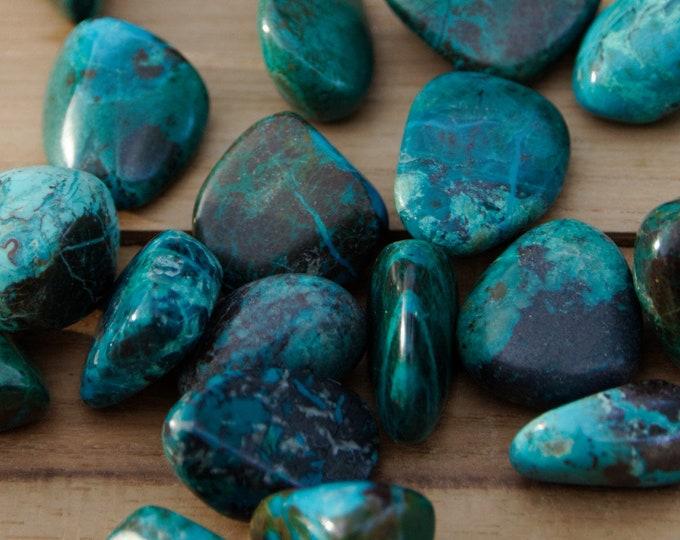 Bleu-Vert --CHRYSOCOLLE - Pierres roulées - 3 à 5 g selon taille - vendues à l'unité ou par lots de 2 à 7 pierres
