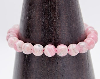 Rose / RHODOCHROSITE - mounted on a multi-wire resistant elastic Bracelet composed of 22 genuine natural 8 mm AA grade
