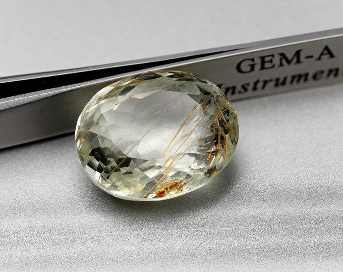 JAUNE / SPODUMENE A INCLUSIONS - Pierre facettée taille ovale - 24.95 cts -20X16X9 mm - Montage bijoux