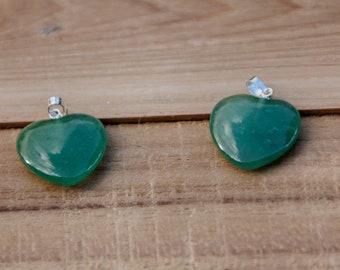 AVENTURINE VERTE (foncé) - Très joli cœur monté en pendentif - 3,4 g