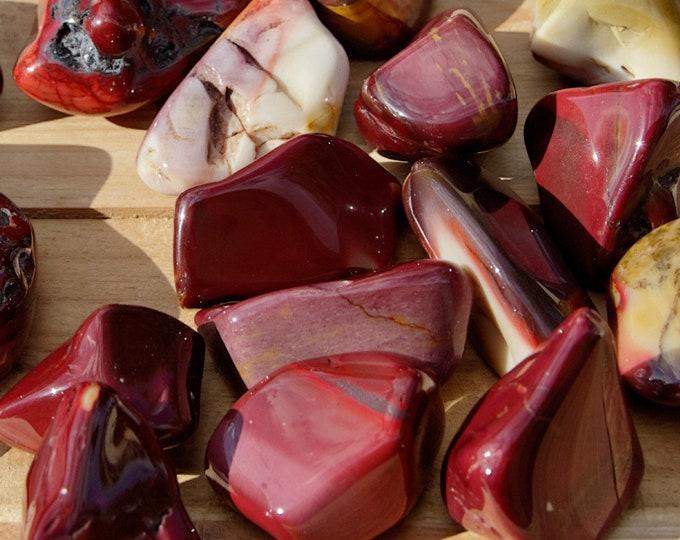 Rouge-Jaune --JASPE MOKAITE - Pierres roulées - 17 g selon taille - vendues à l'unité ou par lots de 2 à 7 pierres