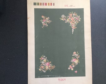 Chinese water color showing carpet design 1900 - 1940